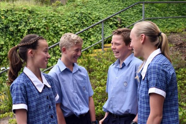 St Patrick's College Sutherland - students talking to each other in the school yard