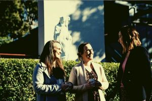 St Patrick's College Sutherland - teachers talking to each other at the courtyard