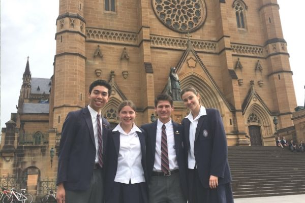 St Patrick's College Sutherland - students at St Mary's Cathedral church